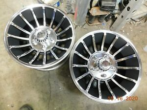 Two Polished 14x7 Western Hurricane Wheels Camaro Ss Ford Chevy Mustang Mopar