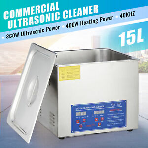 15l Ultrasonic Cleaner Cleaning Equipment Liter Industry Heated W Timer Heater
