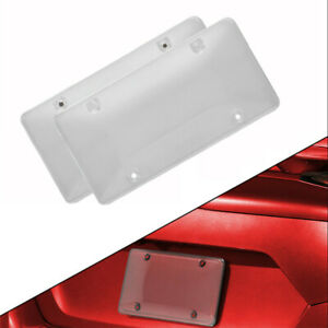 2pcs Clear Bubbled License Plate Cover Shield With Chrome Frame Car Truck