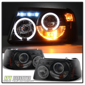 Black Smoke 2001 2011 Ford Ranger Led Halo Projector Headlights W Corner Lights