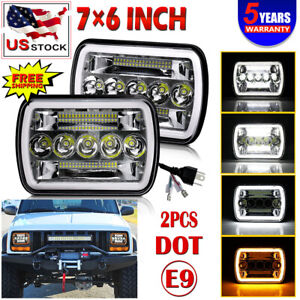 Pair 205w Led 7x6 Headlights For 1986 1995 Jeep Wrangler 1984 2001 Cherokee