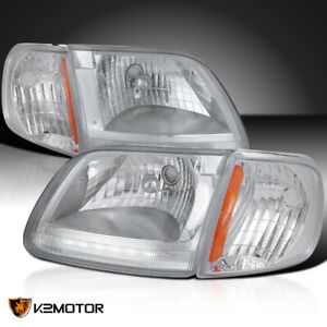 Fits 1997 2003 Ford F150 Expedition Led Drl Clear Headlights corner Signal Lamps