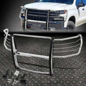 For 19 20 Silverado 1500 Chrome Stainless Steel Front Bumper Grille Brush Guard