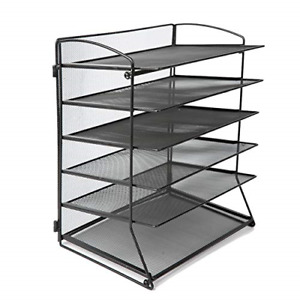 6 Tier Metal Mesh Desk File Organizer Desktop Letter Tray Paper Document Holder