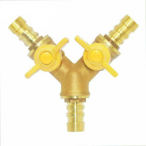 Y Type 3way Brass Cut off Ball Valve 3 8 Id Hose Barb 2 Switch For Flow Upgrade