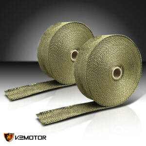 2 Rolls 2 Titanium 50ft Exhaust Header Fiberglass Heat Wraps Tapes 12 Ties Kit