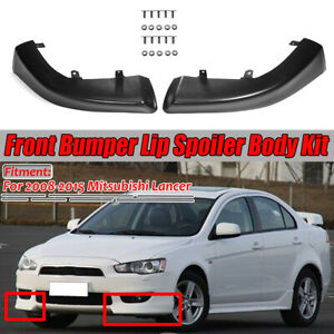Fits 2008 2015 Mitsubishi Lancer Front Bumper Lip Spoiler Side Splitter Body Kit