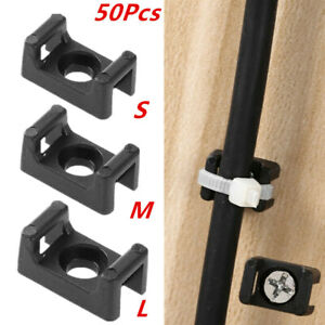 50x Saddle Shape Cradle Ties Mounts Bases Clip Black Screw Type Cable Holder Usa