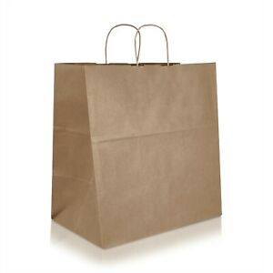 15 X 9 8 X 15 75 Brown Kraft Paper Shopping Bag With Twisted Handles 25 150 Pcs