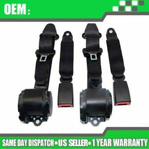 2x Universal 3 Point Retractable Seat Belts For Jeep Cj Yj Ford Gm Toyota Honda
