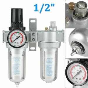 1 2 Air Pressure Compressor Filter Gauge Trap Oil Water Regulator Tool Sfc400