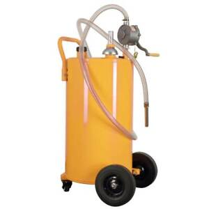 35 Gallon Portable Gas Fuel Diesel Caddy Transfer Tank W 2 Front Caster Yellow