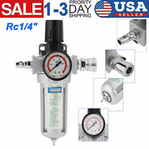 Rc1 4 Air Compressor Filter Water Oil Separator Trap Tool Regulator Gauge Kit