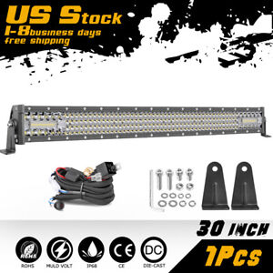 30 Inch Quad Row Led Work Light Bar Combo Offroad Driving Lamp Wiring Harness