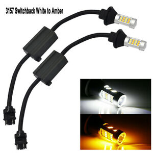 2x 3157 42smd Dual Color Led Switchback Turn Signal Light W 50w Resistor Canbus