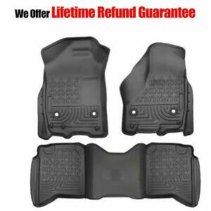 For 2009 2018 Dodge Ram 1500 Quad Cab All Weather 3d Rubber Front Floor Mats Set