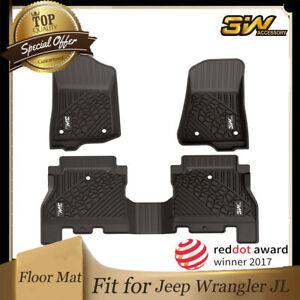 3w Liners Floor Mats Fit For Jeep Wranglerjl 2018 2021 All Weather W Grey Logo
