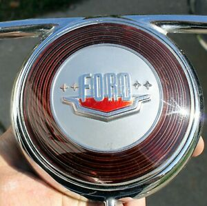 1949 1950 Ford Steering Wheel Chrome Horn Ring Button Assembly Oem