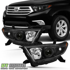 For 2011 2012 2013 Toyota Highlander Headlights Black Headlamps 11 13 Left Right