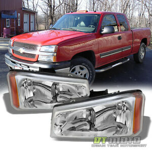 2003 2006 Chevy Silverado 1500 2500 3500 Avalanche Crystal Headlights Headlamps