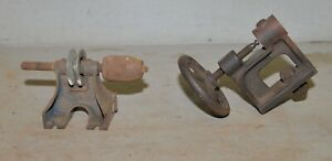 2 Antique Lathe Head Tail Stock Early Collectible Woodworking Tool Parts Lot