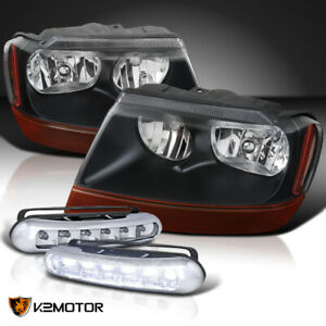 99 04 Jeep Grand Cherokee Black Headlights Pair 3w 6 Led Bumper Drl Fog Lamps