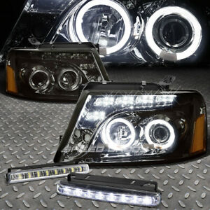 Smoked Dual Halo Projector Headlight Corner Led Fog Light For 04 08 Ford F150