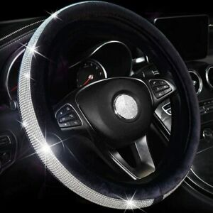 Diamond Leather Steering Wheel Cover With Bling Bling Crystal Fit Women Girls