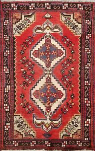 Vintage Geometric Traditional Area Rug Wool Hand Knotted Oriental 3x5 Red Carpet