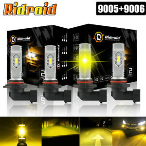 9005 9006 Combo Led Headlight Kit Conversion Fog Hid Bulb High Power 3000k Yello