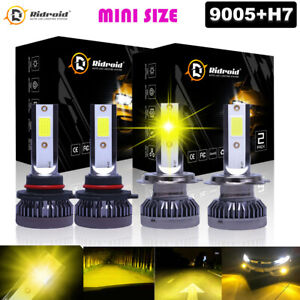 3000k Yellow H7 9005 Led Hi Low Beam 4x Headlight Bulbs For Lincoln Town 03 11