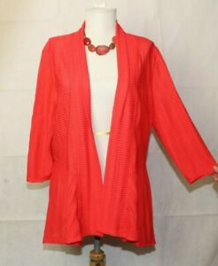 Frank Lyman 3 4 Sleeve Open Front Textured Burnout Red Swing Jacket 16 C117 $74.99