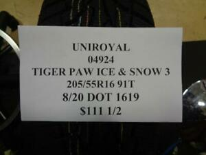 1 New Uniroyal Tiger Paw Ice Snow 3 205 55 16 91t Tire Wo Label 04924 Q0