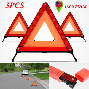 3pcs Car Triangle Safety Warning Board Abs Reflective For Vehicle Maintenance