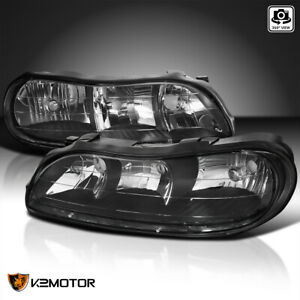For 1997 2003 Chevy Malibu Black Headlights Clear Corner Lamps Pair Left Right