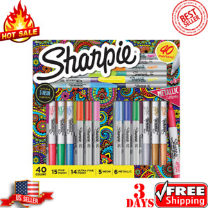 Sharpie 40 Markers Set assorted Colors Fine Point Ultra Fine Neon Metallic New