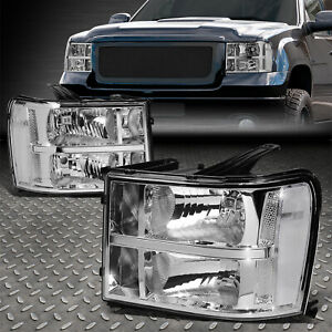 For 07 14 Gmc Sierra 1500 2500 3500 Chrome Clear Oe Style Headlight Head Lamps