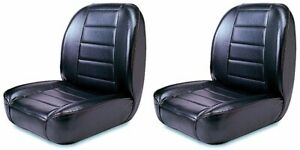 New Low Back Front Bucket Seat Black Pair For Jeep 1955 1986 Cj X 13400 01x2