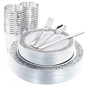 25guest Silver Plastic Plates With Disposable Plastic Silverware silver Rim Cup