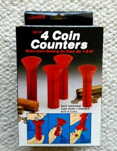 Set Of 4 Coin Counters Red Funnel Tubes In Orig Box By Sun Hill