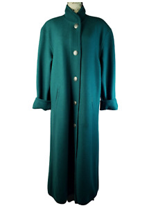 Geiger Collection Vintage Green Boiled Wool Classic Long Coat Size 36eu 8 10us