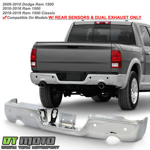 2009 2018 Dodge Ram 1500 W Dual Exhaust Sensor Rear Step Bumper Face Chrome