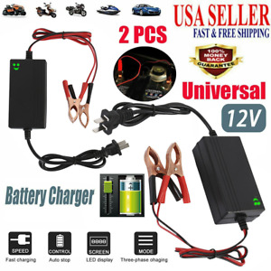 2 Pack 12v Auto Car Battery Charger Tender Trickle Maintainer Boat Motorcycle Us