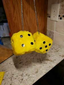 Vintage Yellow Furry Hanging Dice Rear View Mirror Old School Car Decor B1