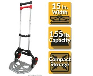 Black Folding Hand Truck 155 Lbs with Steel Toe Plate Pack n roll Lightweight