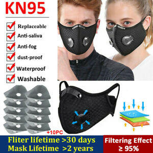 Reusable Face Mask With Breathing Valve With 10x Filter Mouth Mask Washable Us