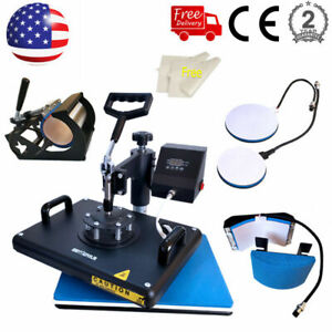5 In 1 Heat Press Machine Sublimation Printing Swing Away T shirt Mug Plate Cap