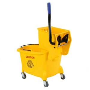 Yellow 26 Quart Commercial Mop Bucket With Side Press Wringer With Wheels Samger
