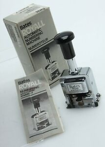 Bates Royall Rnm6 7 Automatic Numbering Machine Ink Stamp Ib W instr 389898