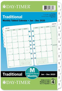 Day timer 2020 Monthly Planner Refill 5 1 2 X 8 1 2 Desk Size 4 Two Pages